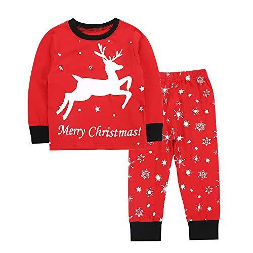 (Weihnachten Pyjamas Huihong Kleinkind Kinder Baby Jungen Mädchen Cartoon Hirsch Druck Tops + Schneeflocke Hosen 2 Pcs Kleidung Set (Rot, 3-4 Jahre))