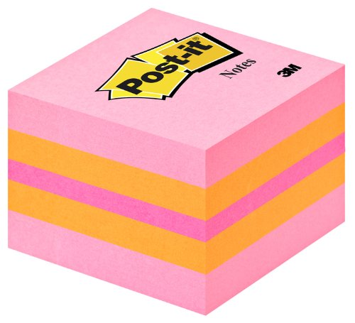 Post-it 2051-P Haftnotiz Würfel Mini 51x51 mm, 400 Blatt pink/orange/neonpink