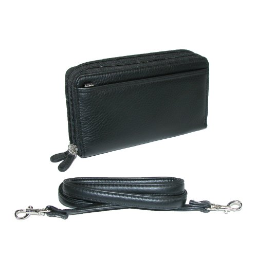 buxton-ultimate-double-zippered-clutch-wallet-w-shoulder-strap-black