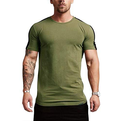 HHyyq Herren Sommer Rundhals T-Shirt Stitching Rundhals Slim Baumwolle Farbe Cool Black Basic Boy Kurzarm Kurzarm Langarm Shirt Form Vergleich(Grün,M)
