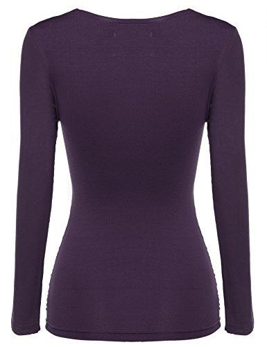 Zeagoo Damen V-Ausschnitt Langarmshirt Tunika Bluse Obertail T-Shirt mit Rüschen Lila