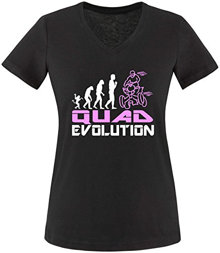 EZYshirt® Quad Evolution Damen V-Neck T-Shirt Schwarz/Weiss/Rosa