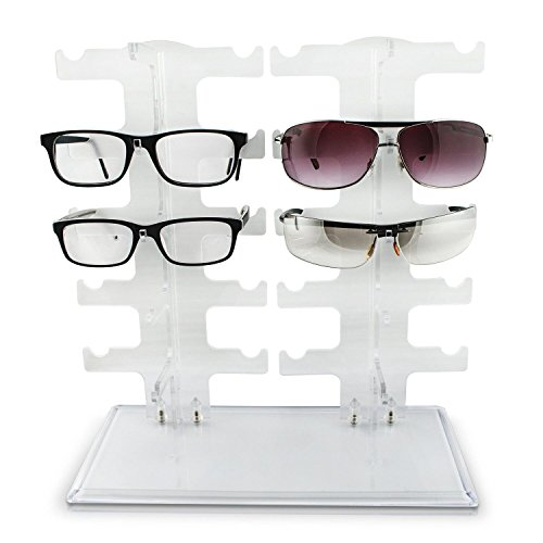 sunshey Sonnenbrille Rack Halterung Acryl Kristall klar Display Retail Show Gläser Display Ständer, Samt, Pink, 10Pairs