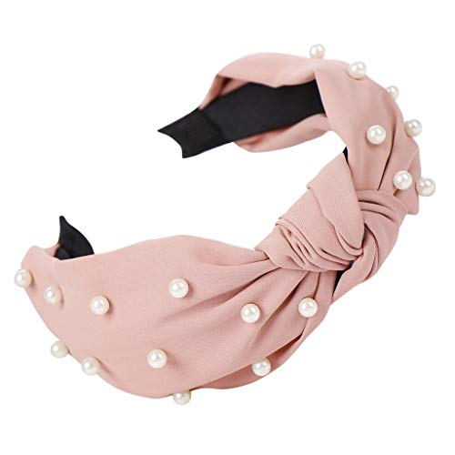 LUGOW Damen Bogen Knoten Perlen Stirnbänder Hoop Süße Mädchen Haarband Zubehör Turban Sport Haarschmuck Kopftuch Stirnband Schweißableitendes Haarreife Haarschmuck Haargummis(Rosa)
