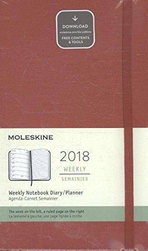 Moleskine 2018 Agenda Settimanale, 12 Mesi, con Spazio per Note, Large, Copertina Rigida, Rosso Scarlatto