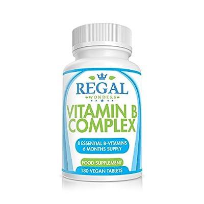 Vitamin B Complex 180 Tablets 6 Months Supply Supplement - 8 Strong Essential Super B Vitamins: B1, B2, B3, B5, B6, Biotin(B7), B12, Folic Acid - Made in the UK - Money Back Guarantee By Regal Wonders