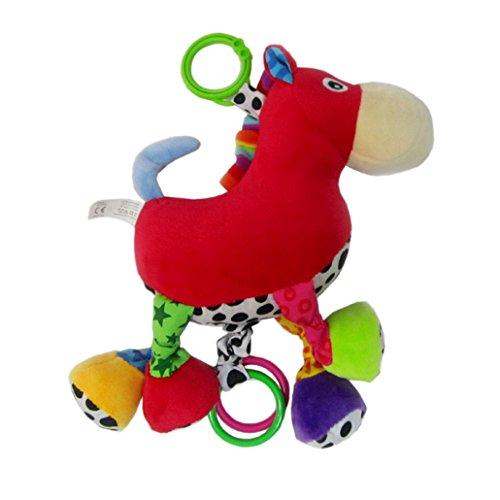 Happy cherry - Juguetes Colgantes para Arrastrar para cochecitos cunas de Peluche Veludillo Animal Infantil con Sonidos Musicales para Bebés recién nacidos Niños niñas - Caballo
