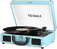 Victrola Suitcase, Tocadiscos Portátil Bluetooth 3 Velocidades, Turquesa