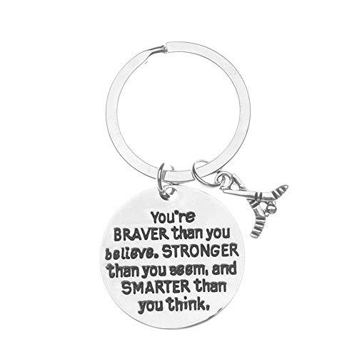 Sportybella Hockey-Charme Keychain, Inspirational Youâ Re Braver als Sie glauben, stärker als du scheinst & intelligenter Sie Denken Schmuck, Hockey-Geschenke für Hockey-Spieler -