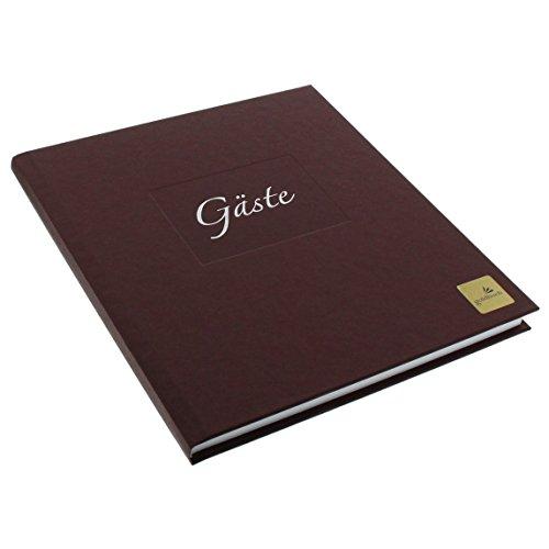 Goldbuch Gästebuch mit Lesezeichen, Seda, 23 x 25 cm, 176 weiße Blankoseiten Schreibpapier, Kunstdruck gerippt mit Silberprägung, Braun, 48050