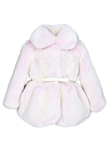 Widgeon Baby Girls Peplum Faux Fur Jacket with Belt 3715, Glp/Pink Glacier Mist, 6 Months