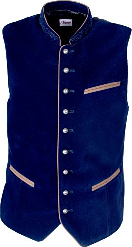 Almwerk Herren Trachten Samt Weste Gilet in vielen Farben, Größe:50;Farbe:dunkelblau