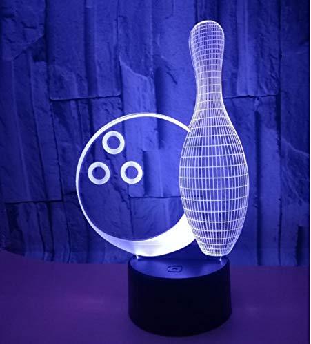 xiadsk Bowling 3D Nachtlicht Bunte Note Fernbedienung 3D LED kreative kleine Tischlampe Gewohnheit