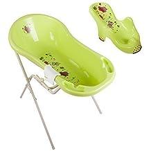 Hippo grün Baby Badewanne XXL 100 cm + Badewannenständer + Badesitz + Waschhandschuh