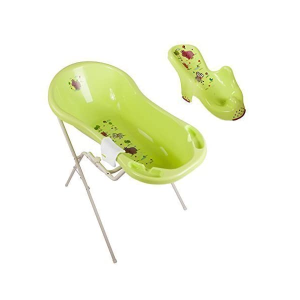 Hippo Green XXL Baby Bathtub 100 cm + Bath Stand + Bath Seat+ Wash Mitt 1