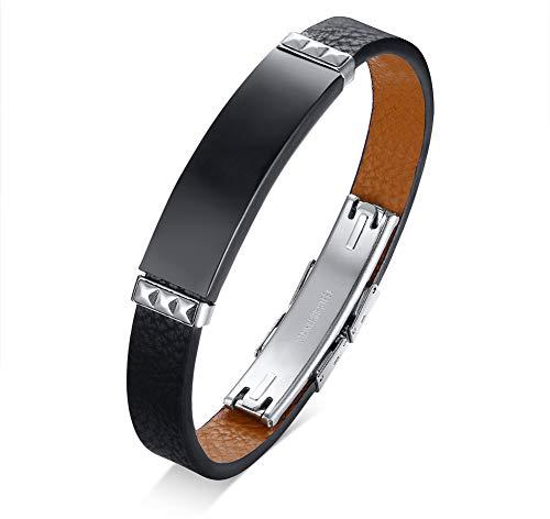PJ JEWELLERY Personalisierte Custom Gravieren Edelstahl Namensschild ID Tag Echtes Leder Armband Armband für Männer Junge