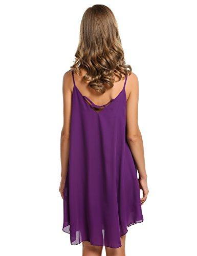 CRAVOG 2016 Mode Robe Mini Plage A Bretelles Fines En Mousseline De Soie Sans Manches Plissage Casual Sundress Femme été Violet