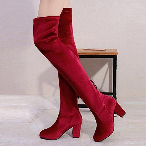 e7881566f9c41 ... Des Classiques Botte Avec Velours Boots tm Femme Coloré Hautes Chaudes  Bottes Talons Hauts Chaussures Rouge ...