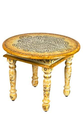 Marokkanischer Wohnzimmertisch Couchtisch aus Holz Chajra Beige 60cm | Vintage Tisch aus Holz mit Bemalung verziert für Ihre Wohnzimmer | Niedriger Orientalischer Sofatisch Holztisch Bunt