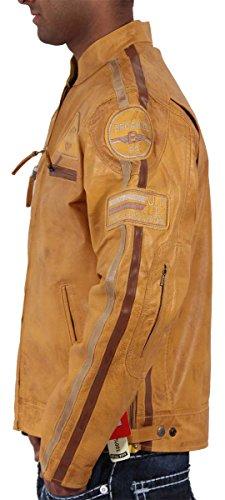 Aviatrix Herren Jungen JLI Mode Echtleder Biker Jacke Vintage Urban Retro Look Erhältlich In 3 Verschiedene Farben Gelb