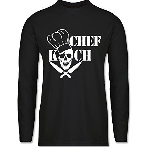 Shirtracer Küche - Chefkoch Totenkopf Skull - Herren Langarmshirt Schwarz