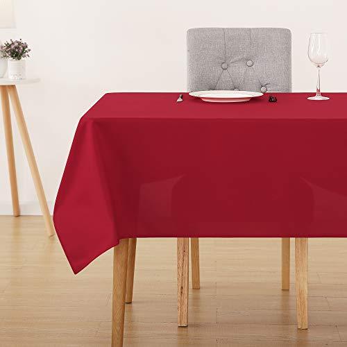 Deconovo tovaglia da tavola cerata rettangolare impermeabile antimacchia in tessuto oxford 178x229cm rosso