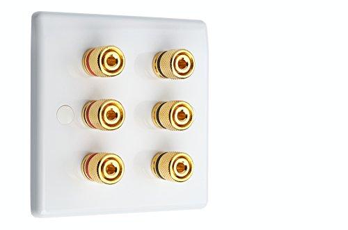 3.0weiß Slimline Audio/AV Surround Sound Lautsprecher-mit gold Polklemmen. Lötzinn