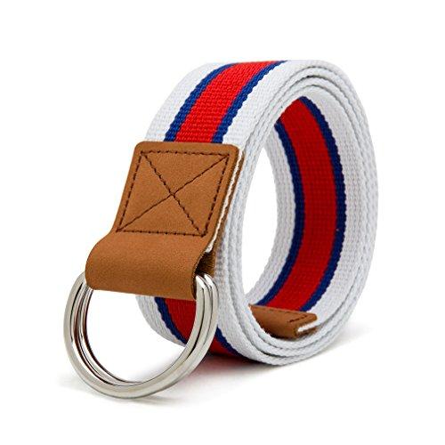 Gucci Canvas-gürtel (VEASTI Stoffgürtel für Herren Doppel D-ringe Leinwand Canvas Schnalle Gürtel (120cm BHB))