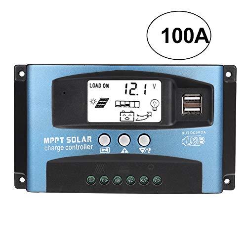 MPPT Solarladeregler 40/50/60 / 100A, 12 V 24 V Dual USB Solar Pannel Batterieregler Intelligenter Regler mit LCD-Display(100A)
