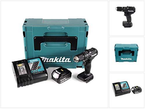 Makita DHP 483 RM1J B Perceuse visseuse à percussion sans fil 18 V noir Brushless en Coffret MAKPAC + 1x Batterie 4,0 Ah + Chargeur rapide