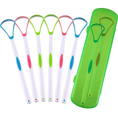 6 Stücke Zungen Schaber Reiniger Zungen Bürsten Kehrmaschine mit Reise Handlicher Tasche für Mund Pflege, 3 Farben
