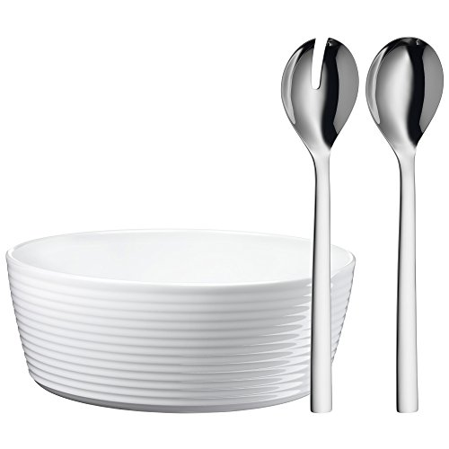 Image of WMF Nuova Salatschüssel, Set 3-teilig, Salatbesteck, mit Salatschale, Cromargan Edelstahl poliert, spülmaschinengeeignet, Porzellan, L 30 cm