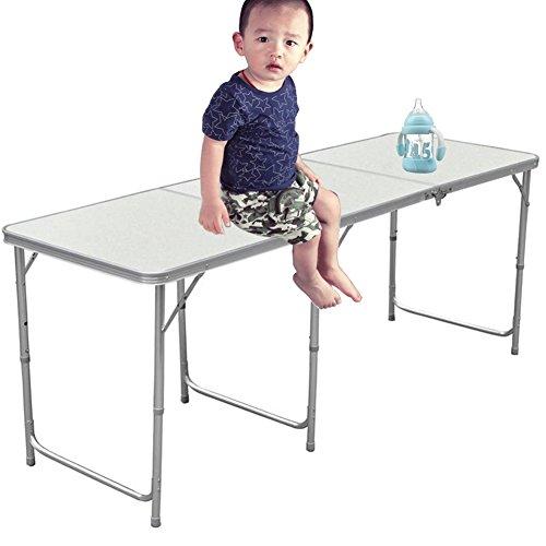 YUMUN Aluminium stabiler Klapptisch Campingtisch 180x60x70cm höhenverstellbar tragbar Gartentisch...