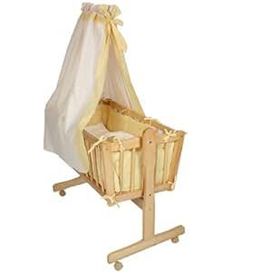 babywiege stubenbett kinderbett inkl zubeh r gelb baby. Black Bedroom Furniture Sets. Home Design Ideas