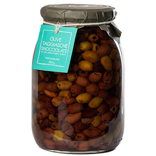 Taggiasca Oliven ohne Stein aus Ligurien mit extra natives olivenöl, 900g