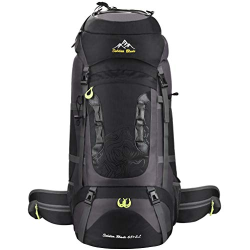 Vbiger Mochila Senderismo 65L+5L Viajes Excursiones Acampadas Escalar Montaña (Negro)