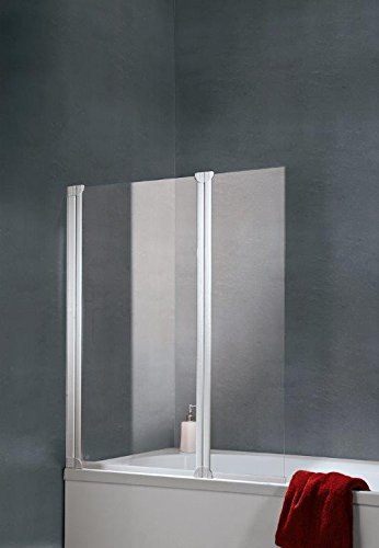 Schulte pare-baignoire pivotant 114x130 cm, paroi de baignoire rabattable, écran de baignoire 2 volets pliants, verre transparent, profilé blanc