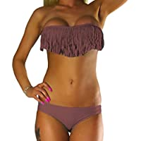 ALZORA Bikini Damen Tassel Fransen Fringe Push Up Set Top und Hose , 10200