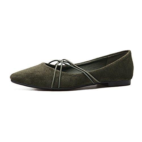 Damen Slipper Nubukleder Spitz Zehen mit Schnürsenkeln Verziert Slip on Atmungsaktiv Strapazierfähig Topaktuell Elegant Schick Schuhe Grün
