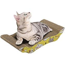 Juguete Curvo Rascadores para Gatos de Carton Cartoon Impresa Juguetes Sofás Camas para Mascotas (Caqui, 41 * 21 * 7.5cm)