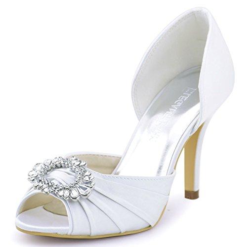 ElegantPark A2136 Escarpins Satin Bout ouvert Diamant Bloc Boucle Chaussures de mariee soiree Blanc