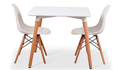 Noorsk Design Conjunto Mesa 80 + 2 sillas Tower Blancas