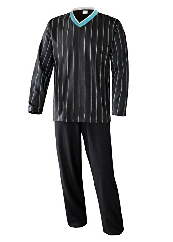 Herren Schlafanzug lang Herren Pyjama lang Hausanzug langarm Herren aus 100% Baumwolle Model MoonLine (XXXL /62/64, anthrazyt)) (Langer Schlafanzug)