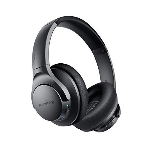 Soundcore Life Q20 Casque Bluetooth avec réduction de Bruit Active, 30 Heures d'autonomie Bluetooth, Audio Hi-Res, Basses Profondes, pour Voyages, transports, Travail (avec câble AUX)