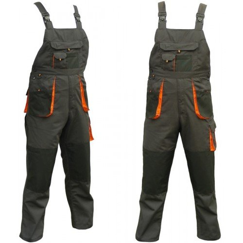 Bib and Brace Overalls Mens Work Trousers Knee Pad Dungarees Multi Pocket Clasic and Knee pads