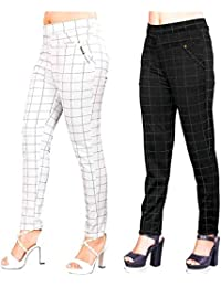 Heel & Toe Women's Black & White Check Pants (Jegging Style) Formals/Casual Stretchable - 26-32 Inch Waist