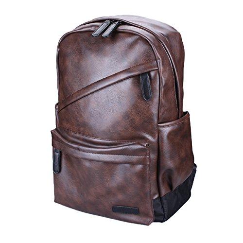"""Zaino in pelle, Kvolity scuola Classic Student Laptop Backpack (14 """") Casuale Unisex Zaino in pelle PU dell'annata per l'escursione del campeggio viaggio Daypack 44 * 30 * 16 CM (Marrone)"""
