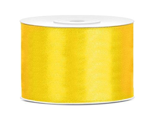 5m x 50mm viele Farben Hochzeit Dekoband Geschenkband Antennenband Schleifenband (gelb) (Gelbe Bänder)
