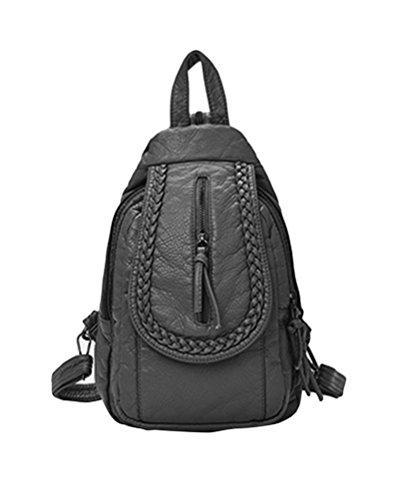 CHENGYANG Damen PU Leder Rucksack Handtaschen Vintage Reisetasche Studenten Daypacks Tasche Grau