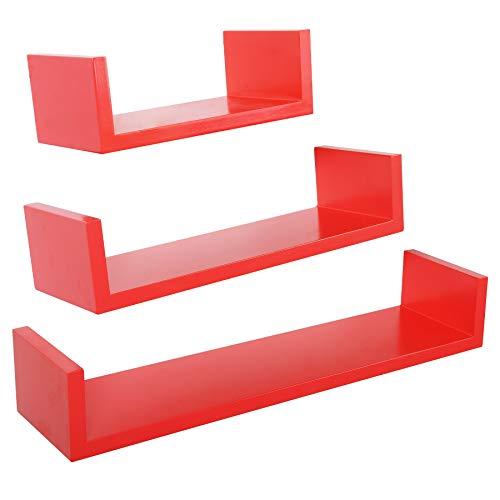 Lot 3 étagères murales Design cube Colorées rouge